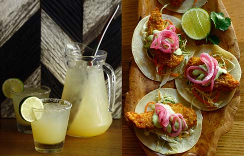 Pitcher and glass of lemonade/Three torillas with fried chicken