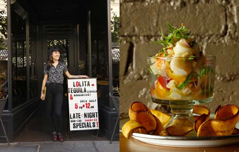 Young lady standing outside restaurant next to a daily specials sign./Fancy fruit cup in glass bowl
