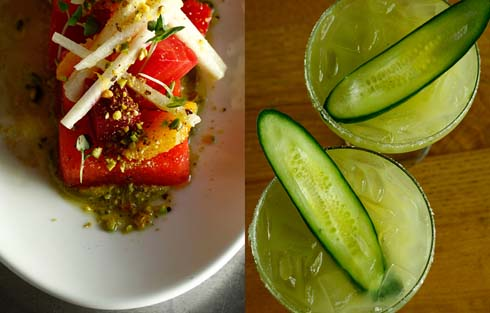 Colorful dinner on white plate/Green drinks with slice of cucumber on top